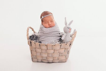 a small child in a basket with toy white rabbit. concept of childhood, healthcare, IVF, gift, animal. isolated on white backgrpund
