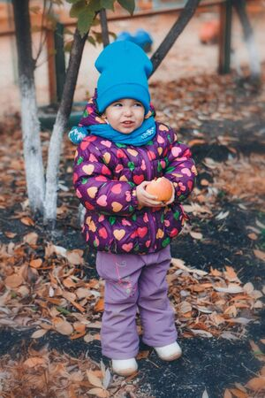 a small child with red apple in a warm suit walks in the woods. autumn park. The concept of childrens fashion, accessories, outdoor walks
