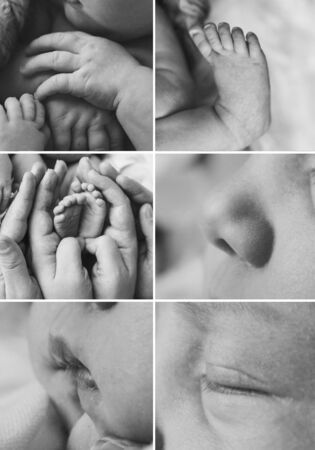 collage of photos: face, legs, hands of a child close-up. concept of childhood, health care, IVF, hygiene, ENT Stok Fotoğraf
