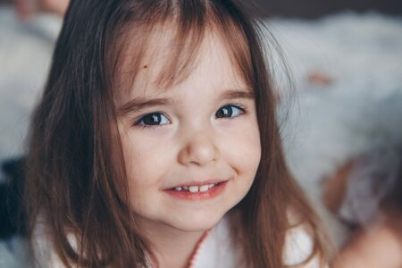 portrait of a little girl: babys face close-up. concept of childhood, healthcare, IVF Stok Fotoğraf