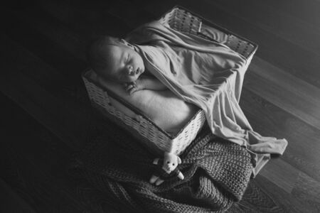 newborn baby wrapped in a blanket sleeping in a basket. concept of childhood, healthcare, IVF. Black and white photo Banque d'images - 135453485