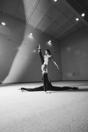 The women sat down on the twine. classes in the fitness club. the two girl is engaged in recreational gymnastics. sports exercises and stretching: athletics
