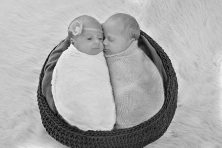 IVF results: The twins embrace. newborn babies sleep together Banque d'images