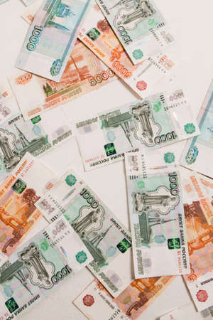 the rubles Isolated on a white background. Money on floor at interest, investments, salary. Business and Finance Standard-Bild