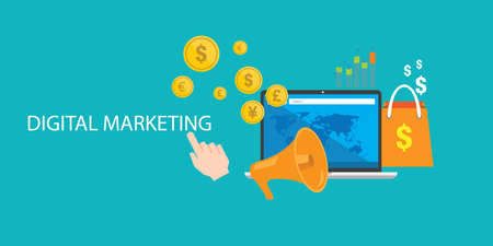 content digital marketing seo optimization online blog internet Иллюстрация