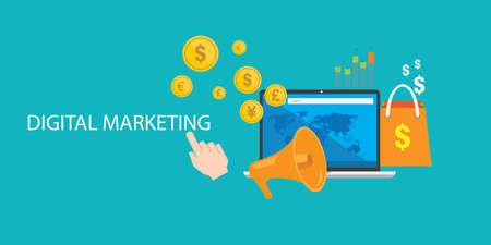 content digital marketing seo optimization online blog internet Illustration