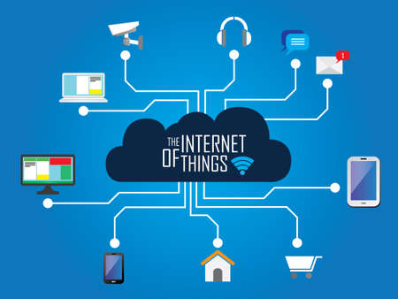 internet icons: the internet of things flat iconic illustration