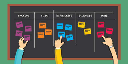 project management: scrum board agile software development methodology  project management illustration