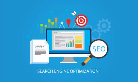 strategy concept seo content marketing  search engine optimization vector