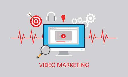 video marketing youtube advertising digital advertising online webinar  イラスト・ベクター素材