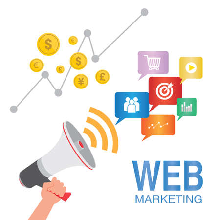 web marketing: web marketing seo concept illustration Illustration