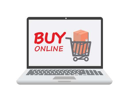 buy online shopping cart illustration