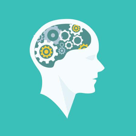 Thinking Process head brainstorming illustration Illustration