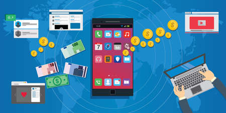 apps economy mobile application development ecosystem concept illustration