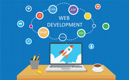 application software: Web development infographic illustration