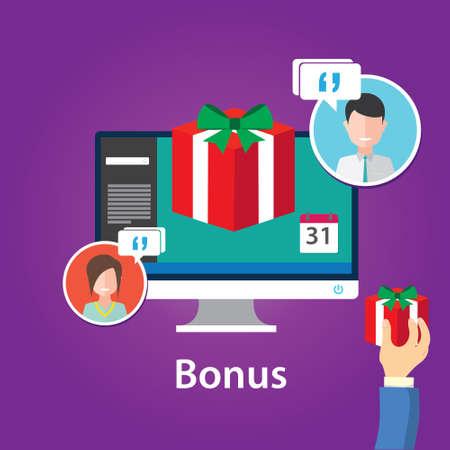 extra money: bonus reward employee benefits promotion offer flat design illustration Illustration