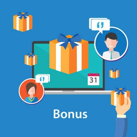 additional compensation: bonus reward employee benefits promotion offer flat design illustration Illustration