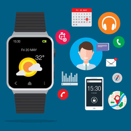 mobile device: Modern Smartwatch Wearable Set illustration
