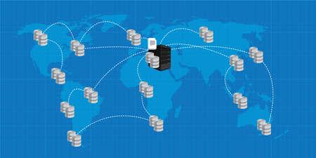 La distribution de base de données d'analyse interconnectés business intelligence illustration Banque d'images - 55493558