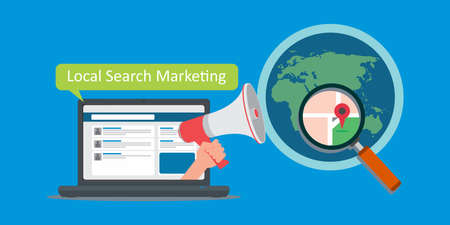 local search marketing vector illustration