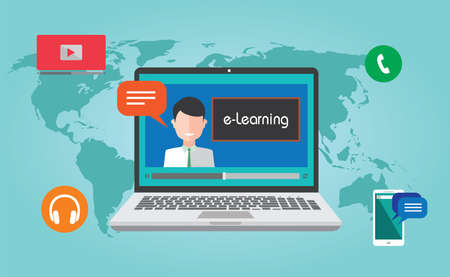 online education: e-Learning webinar online education concept illustration