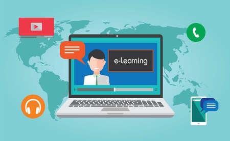 e-Learning webinar online onderwijs concept illustratie