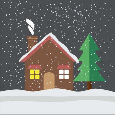 yearn: House under snow flat icon illustration Illustration