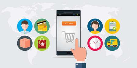 Online-Shopping E-Commerce-Handy Konzept Illustration Standard-Bild - 55493578