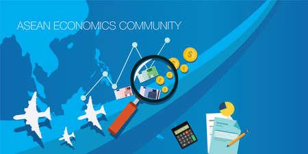 concepto de ilustración AEC comunidad de la ASEAN Económico Ilustración de vector