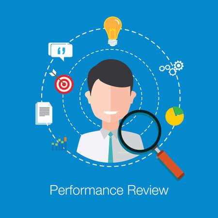 illustrazione Performance Review vettore dipendente