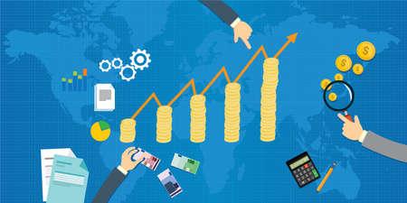El crecimiento económico de la ilustración del producto interno bruto Foto de archivo - 55492578
