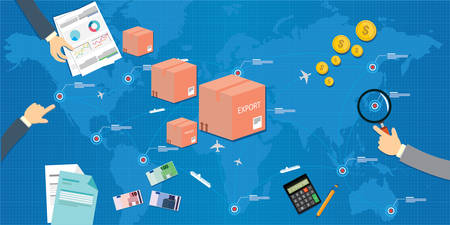export import across nation concept illustration