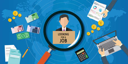 hiring practices: looking for job vector illustration
