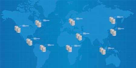 database distribution interconnected analysis business intelligence illustration
