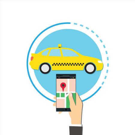 in order: order taxi online concept illustration Illustration