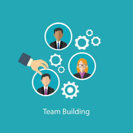 briefing: team building human resource icons illustration