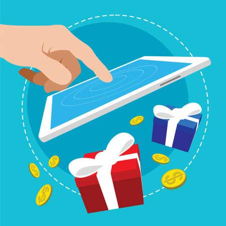 touch application bonus reward flat design illustration 일러스트