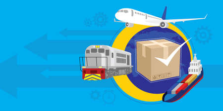 traceability: fast and guaranteed shipment vector illustration