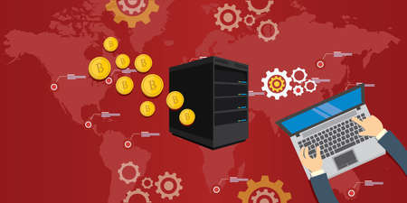 Bitcoin mijnbouw server illustratieconcept