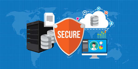 gegevensbescherming database beveiliging internet schild illustratie