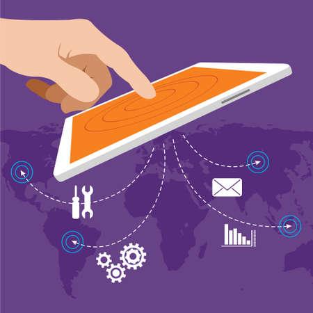 erp enterprise resource planning vector Illustration