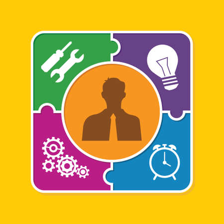 good personality puzzle style illustration