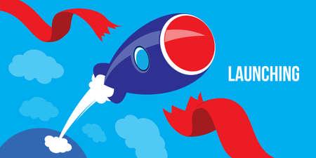launching: Launching Ideas. Startup Concept Flat Design Rocket Launch illustration vector Illustration