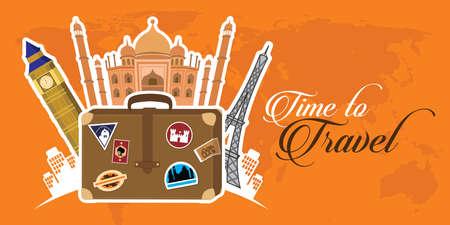 travel around the world illustration vector Stock Illustratie