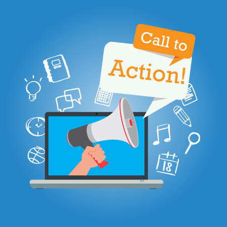 call to action button marketing online design page illustration