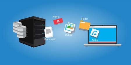 transfert de fichiers document de copie et les médias illustration symbole de synchronisation
