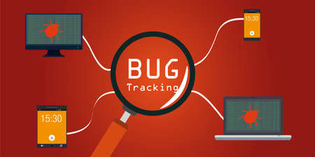 software bug tracking in devices vector illustration  イラスト・ベクター素材