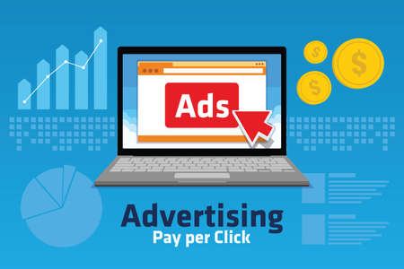 linking: PPC Pay per click internet marketing analytic concept chart traffics illustration
