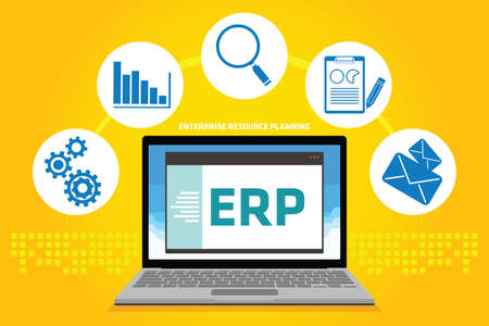 erp: erp enterprise resource planning vector illustration concept