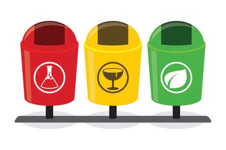 waste separation: organic inorganic recycle garbage bin separation segregate separate bottle degradable waste trash illustration